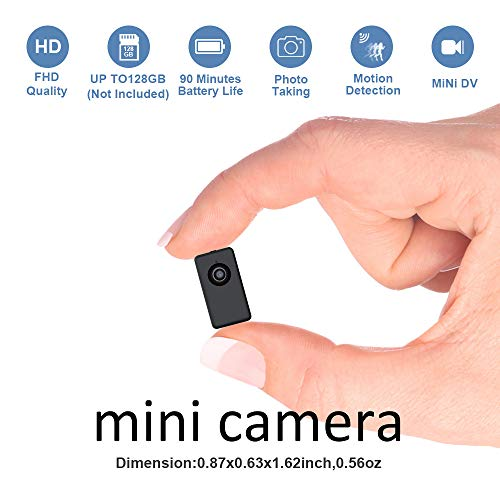 Mini Camera Digital Video Recorder Battery Powered,Fuvision Portable Nanny Camera with Motion Detect, 90 Minutes Battery Life, Loop Recording Covert Security DVR Perfect for Home and Office