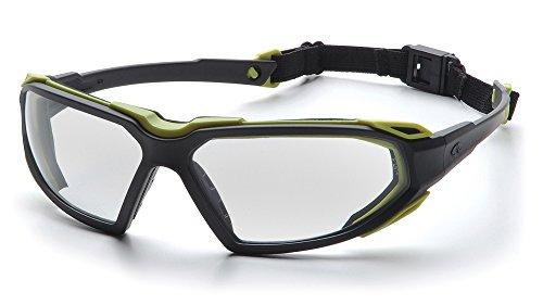 Lens Frame Black Goggle Clear - Pyramex Highlander Safety Eyewear, Clear Anti-Fog Lens With Black/Lime Frame