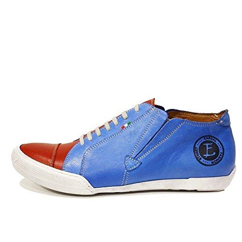 PeppeShoes Modello Rodolfo - Handmade Italiano da Uomo in Pelle Blu Scarpe Casual - Vacchetta Pelle Morbido - Scivolare su