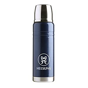 Heesung Double Wall Stainless Steel Vacuum Flask, Coffee flask Vacuum Insulated Water Bottle 17oz Compact Thermal Flask Hammer Tone Blue Color