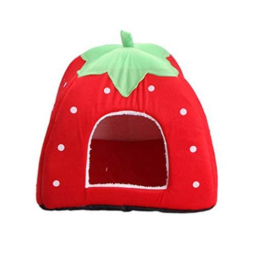 Jim Hugh Strawberry Deer Pattern pet Dog Bed Supplies Dog House Warm Soft Blanket pet Bed House for Small Dog cat