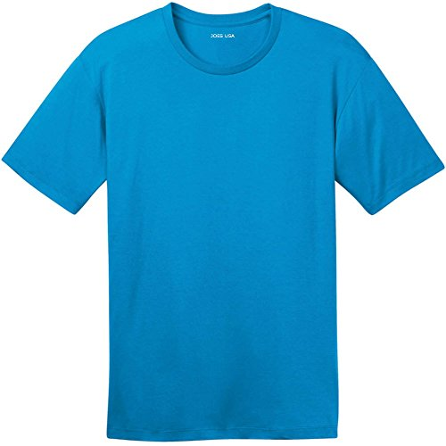 Perfect Weight Crew Neck Tee - Joe's USA(tm) Mens Perfect Weight 100% Cotton Crewneck T-Shirt-Turquoise-L