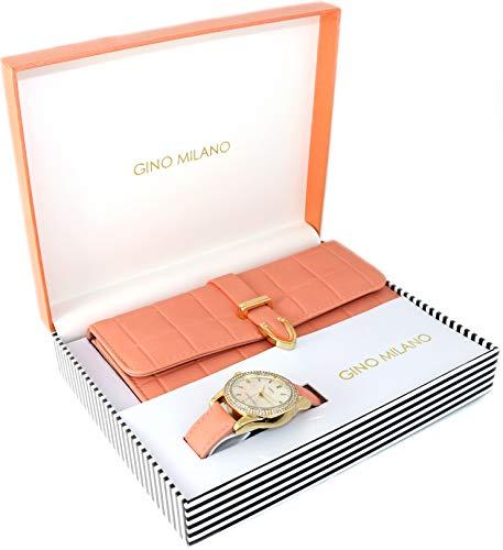 Women's Matching Watch & Wallet Gift Set - Peach