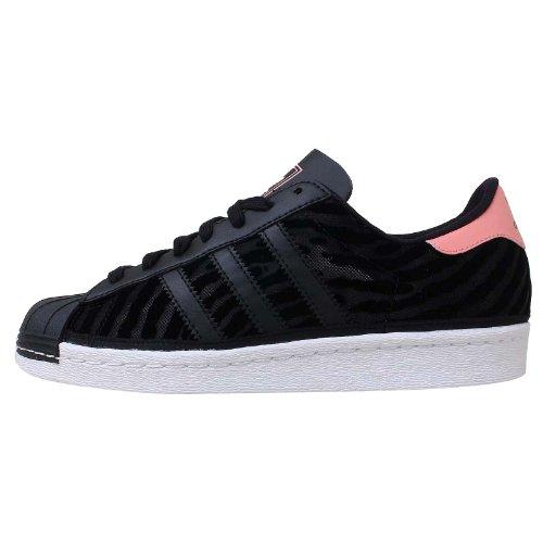 Adidas Women's Superstar 80 S W, BLACK/WHITE/PINK, 7 US