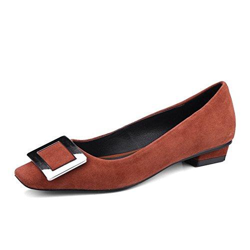 de Cabeza Boca Fino Mujer de Cuadrada Superficial Pisos QXH Brown Sandalias Zapatos o Pa 5HRYqY