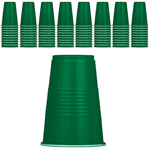 DecorRack 80 Party Cups, 16 oz -BPA Free- Plastic Soda Cups, Perfect for Birthday, Picnic, Indoor and Outdoor Event, Stackable, Reusable, Disposable Round Beverage Drinking Cup, Green (Pack of 80)