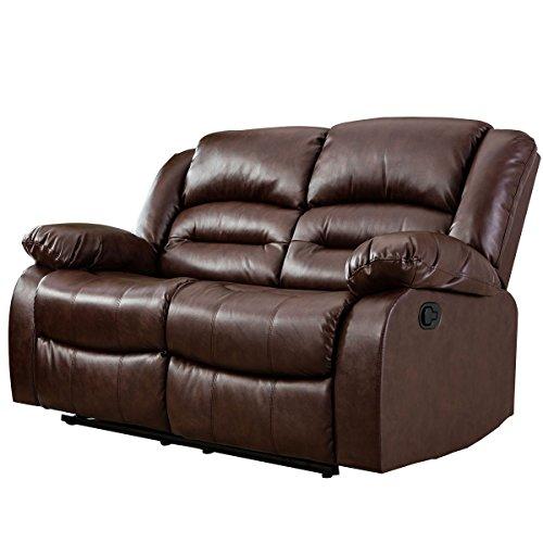 Giantex 3Pc Black Motion Sofa Loveseat Recliner Set Living Room Bonded Leather Furniture (Love-Seat, Espresso) price