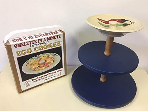 3-Tier Multi-Purpose Lazy Susan Turntable with Microwave Egg Cooker Covered in Your Choice of a Colored Vinyl (Blue Variety)