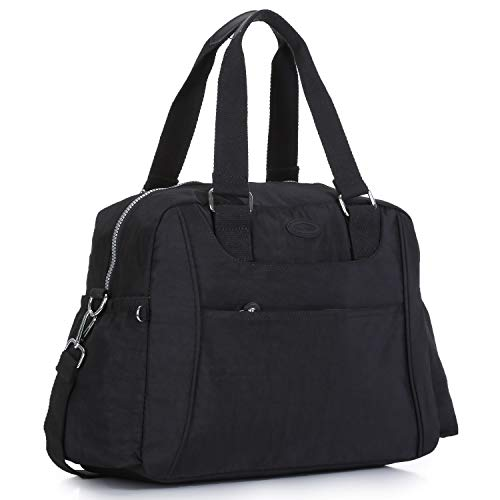 Lined Tote Zip Fully Top - Nylon Travel Tote Cross-body Carry On Bag with shoulder strap (Black)