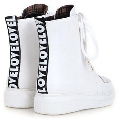 Summerwhisper Kvinna Bekväma Rund Tå Hög Topp Skridsko Skor Plattform Snörning Sneakers Boots Vita