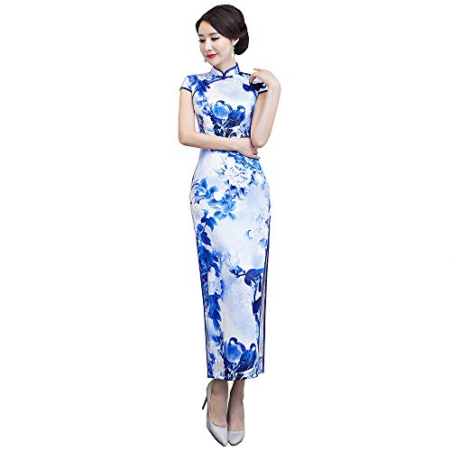 Woman Ancient Pure Silk Printing Embroidery Cheongsam Chinese Qipao Prom Evening Dress(Small,White)
