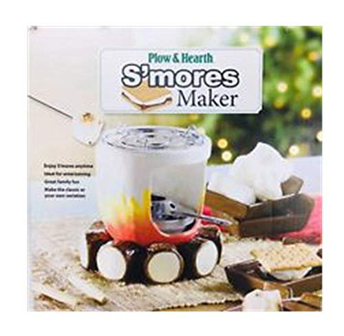 (Plow & Hearth Indoor S'mores Maker - Campfire Design with Roasting Sticks and Serving Plates - Glazed and Painted Ceramic, Metal and Wood - 6'' dia. x 6''H)