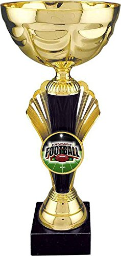 12 Inches Tall Gold FANTASY FOOTBALL Metal Cup Trophy - Prestigious Award - Customize Now - Personalized Engraved Plate Included & Attached to Award - Decade Awards