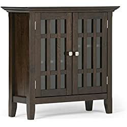 Simpli Home Bedford Solid Wood Low Storage, Dark Tobacco Brown