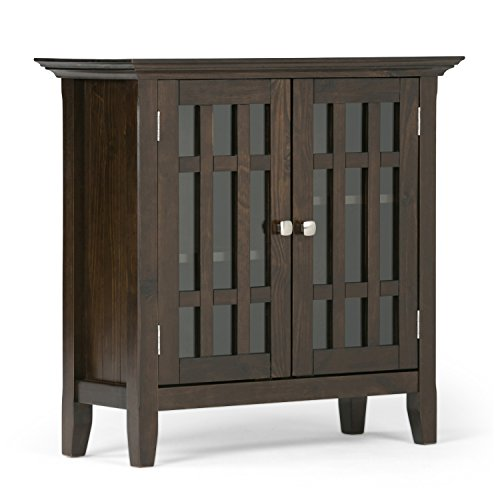 Simpli Home Bedford Solid Wood Low Storage, Dark Tobacco Brown Dining Room Square Cabinet