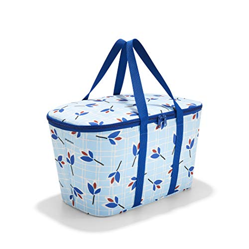 reisenthel Coolerbag, Collapsible 20-Liter Insulated Tote with Zipper Closure, Leaves Blue
