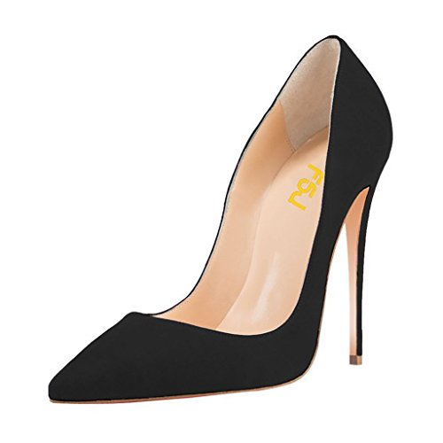 FSJ Women Sexy Suede Pointed Toe Pumps 12 cm High Heels Stilettos Prom Shoes Size 4 Black