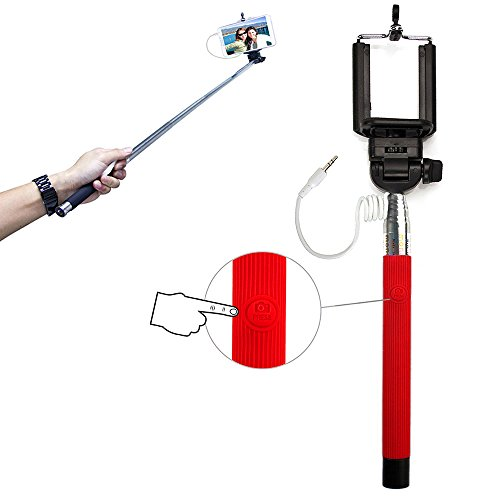 Universal Push Button Operated Monopod Selfie Stick with Adjustable Clamp and Extendable Pole for Samsung, iPhone, Sony, Nokia & many more! - Red ()