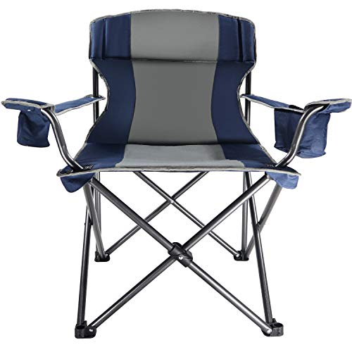 (LCH Folding Chair Heavy Duty Portable Camping Chair Steel Director's Chairs Support 350 lbs, Cooler Bag and Cup Holder with Carry Bag,)