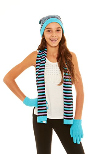 (S.W.A.K Girls Knit Hat, Scarf And Gloves Set - Turq)