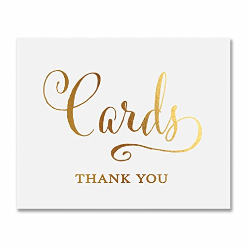 - Cards Thank You Gold Foil Print Wedding Reception Gift Table Sign Party Decor Calligraphy Newlyweds Modern Metallic Poster 5 inches x 7 inches E4