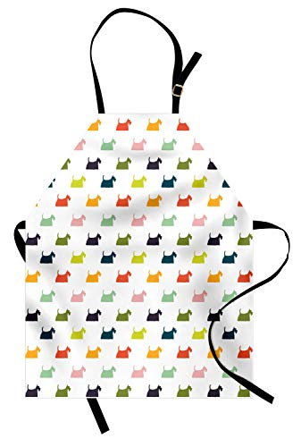 Ambesonne Scottie Dog Apron, Stencil Style Chubby and Fluffy Doggy Friends with Colorful Hairy Fur Icons, Unisex Kitchen Bib Apron with Adjustable Neck for Cooking Baking Gardening, Multicolor