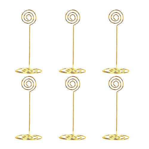 20 Pieces 8.6 inch Tall Place Card Holders Table Number Holders Table Card Holders Table Picture Holder Wire Photo Holder Menu Memo Clips (Gold)