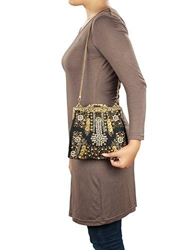 MyBatua Philana Handtasche verschönert mit Metall, Kristalle und Glasperlen ACP-326