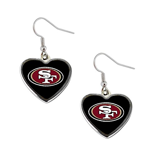NFL San Francisco 49ers Sports Team Logo Heart Shape Dangle Earring Set