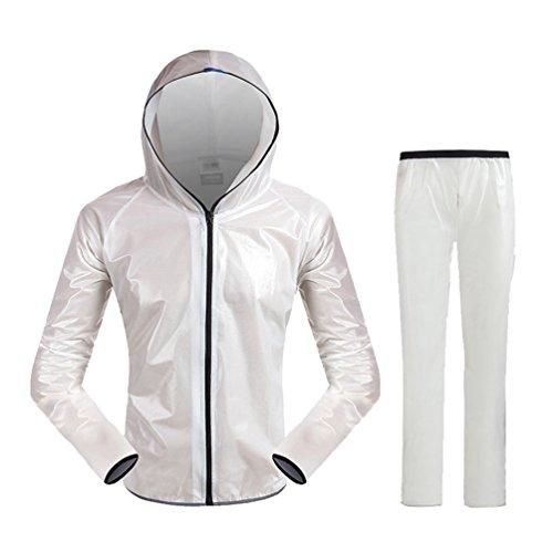 WanYang Antiacqua Giacchetto Bici Antipioggia Bianco Set Giacca Antipioggia Giubbotto Pantaloni Impermeabile trqStwT