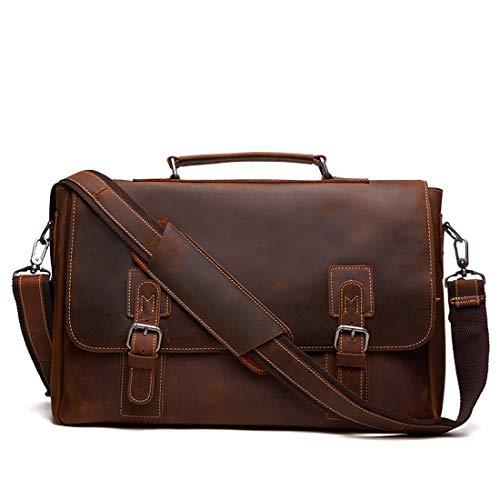 Messenger Grand Bag En Porte Pouces Sac Imperméable Portable Mens Bandoulière documents Brown Ovesuxle Brown À D'ordinateur color Véritable Vintage 14 Cuir 5c1qF
