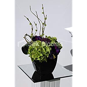Small Modern Vase Display with Green Hydrangea & Purple Anemones 71