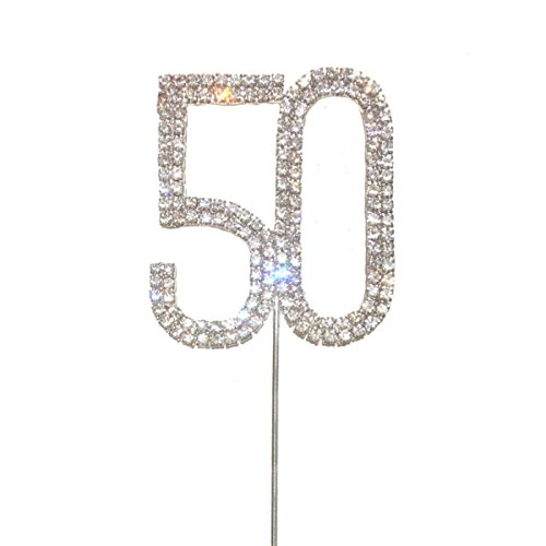Maticr Glitter Crystal 50th Birthday Cake Topper Number 50 Anniversary Cake Top Party Decorations (Silver-Number 50) ()