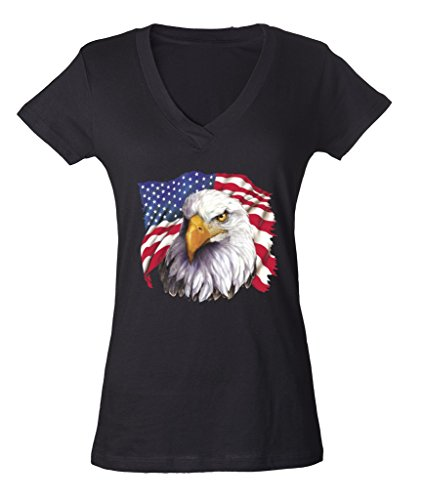 USA Flag Eagle Theme Ladies V-Neck T-shirt 4th of July Proud Nation Shirts X-Large Black f5