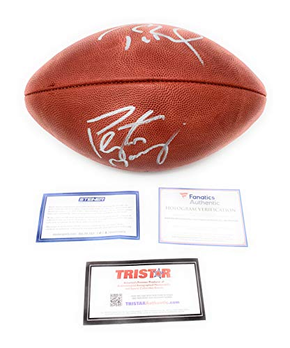 (Tom Brady Peyton Manning Broncos Colts New England Patriots DUAL Signed Autograph NFL Authentic Duke Football Fanatics Authentic Tristar Authentic Certified)