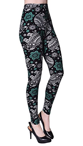 VIV Collection Regular Size Printed Brushed Ultra Soft Leggings (Outer Space Elephant)