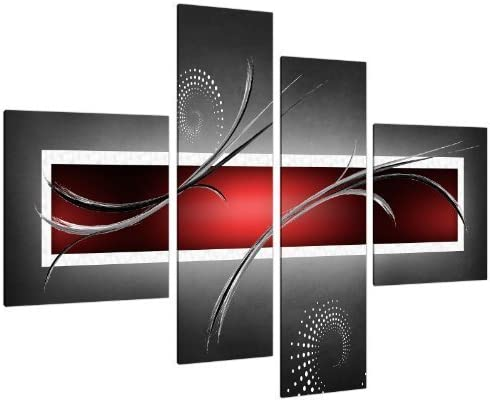 Red Black White Portrait Abstract Canvas Wall Art Large Picture Prints