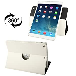 360 Degree Rotation Crazy Horse Texture Leather Case with Holder for iPad Air (White)