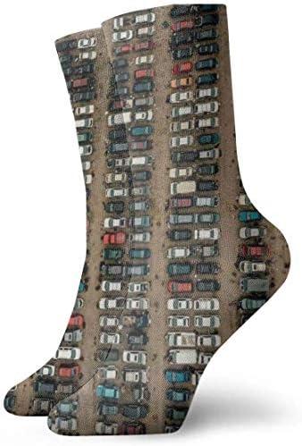 駐車場パターン通気性足首ソックス30cmコットンアスレチッククルーソックス、男性、女性、子供用