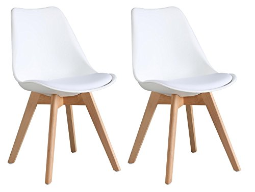 Set of 2 Modern Elegant Contemporary Dining Living room Plastic Chairs Set with Leather Saddle and Sturdy Wooden Leg by Oye Hoye Quick Easy Assembly-White