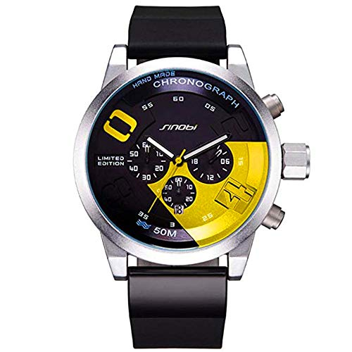 Chronograph Yellow Wrist Watch - SINOBI Men's Sports Casual Rubber Strap Watch Big Face Chronograph Watches, Military Stainless Steel Clock