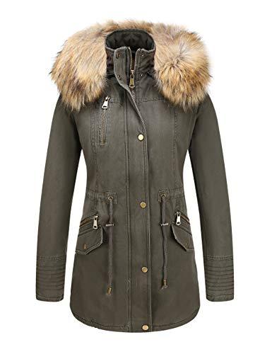 Bellivera Women's Parka Faux Fur Collar Twill Jacket, Warm Women Winter Coats with ()
