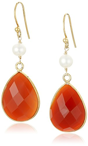 Faceted Dyed Red Agate Pear Shape Bezel with White Freshwater Cultured Pearl and Gold over Silver Drop Earrings