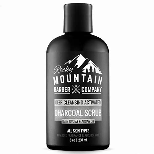 Charcoal Face Scrub Acne Exfoliator - Deep Gentle Facial Wash Cleansing For Normal to Oily Skin Types - Contains Argan Oil & Jojoba Oil - No Added Fragrance - 8 OZ