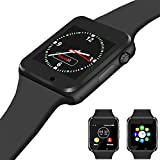 Qidoou Smart Watch, Bluetooth Smartwatch Compatible Smartphone, Fitness Tracker Step Calorie Sleep Sedentary Monitor Waterproof Touch Screen Call Message Music with SIM SD Slots Men Women(New Black)
