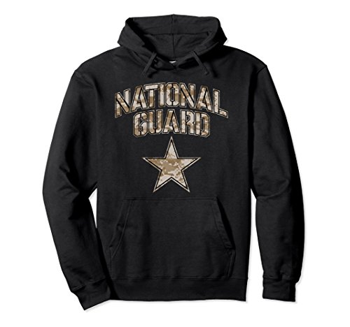 Unisex National Guard Hoodie for Women and Men (Camo) XL: Black