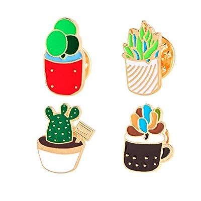 Women Children Cute Cactus Lotus Flower Grass Aloe Vera Potted Badge Corsage Collar Brooch Label Pin