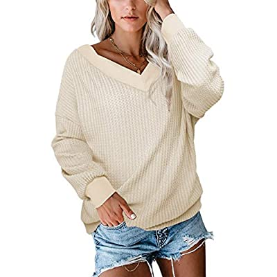 Albe Rita Women's Casual V-Neck Off Shoulder Batwing Sleeve Pullover Tops at Women's Clothing store