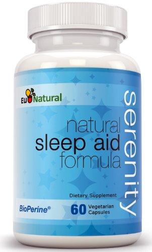 Serenity Natural Sleep Aid, 60 capsules végétariennes (Formule pur avec la mélatonine, valériane, camomille, Fleur de Passion, 5-HTP, L-théanine)