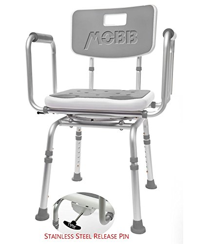 MOBB Premium Bathroom Swivel Shower Chair Bath Bench with Back, 360 Degree Swivel Seat with Locking Mechanism